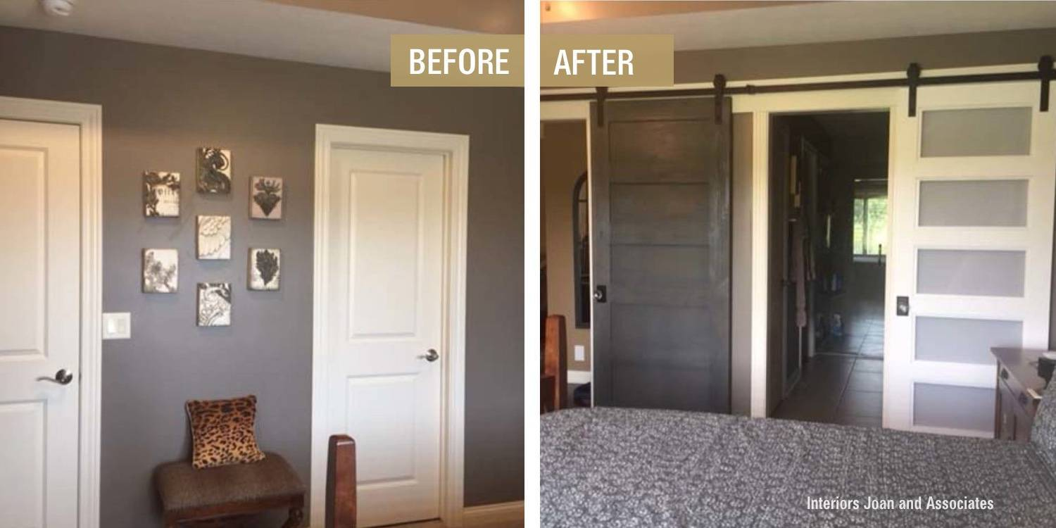 Before and After Bedroom Barn Door Makeover